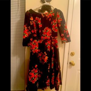 Hearts and roses floral boatneck dress